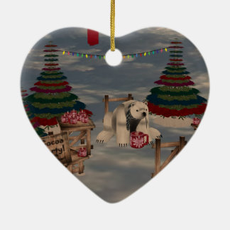 Polar Bear Heart Ornament