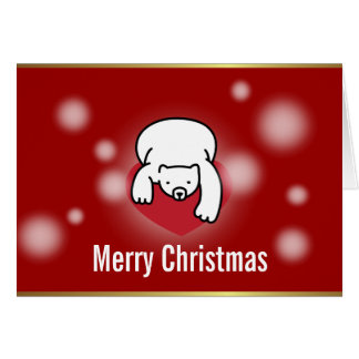 Polar Bear Heart Snowing Red Christmas Card
