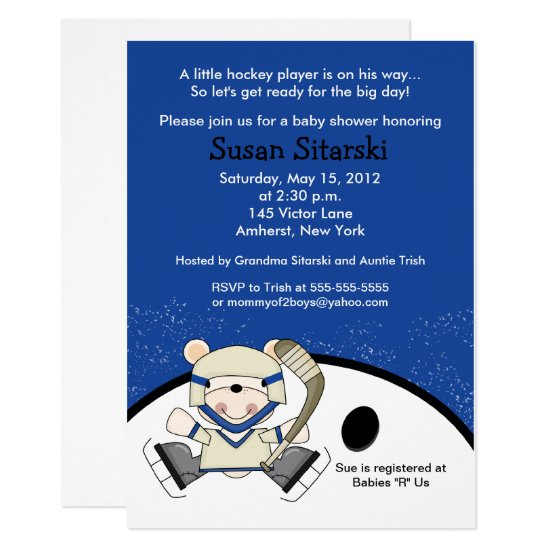 Polar Bear Hockey Sports Baby Shower Invitation