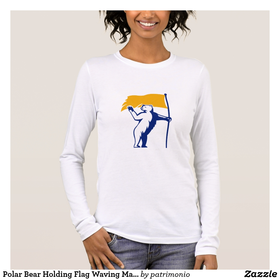 Polar Bear Holding Flag Waving Mascot Long Sleeve T-Shirt - Best Selling Long-Sleeve Street Fashion Shirt Designs