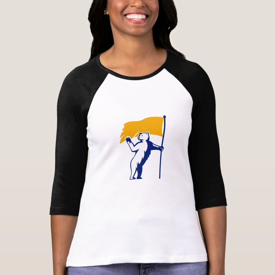Polar Bear Holding Flag Waving Mascot T-Shirt - Best Selling Long-Sleeve Street Fashion Shirt Designs