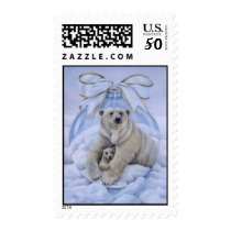 Polar Bear Holiday Stamp