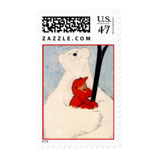 Polar Bear Hug downHill Cross-country Skiing Stamp