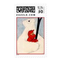 Polar Bear Hug downHill Cross-country Skiing Stamp