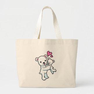 Polar Bear hugging Baby bear Canvas Bags