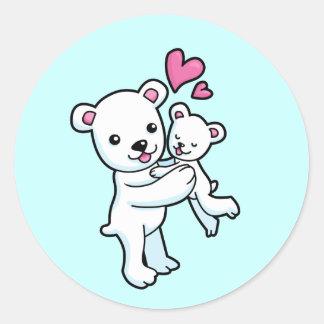 Polar Bear hugging Baby bear Classic Round Sticker