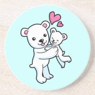 Polar Bear hugging Baby bear Coaster