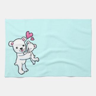 Polar Bear hugging Baby bear Hand Towels