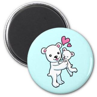 Polar Bear hugging Baby bear Fridge Magnets