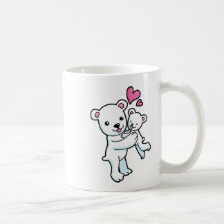 Polar Bear hugging Baby bear Coffee Mugs