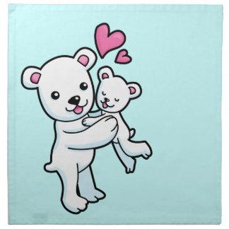 Polar Bear hugging Baby bear Cloth Napkin