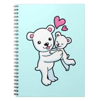 Polar Bear hugging Baby bear Note Book