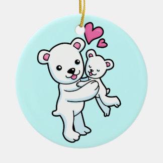 Polar Bear hugging Baby bear Christmas Tree Ornaments