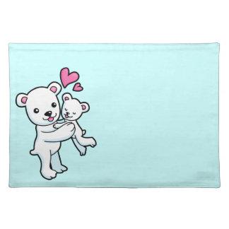 Polar Bear hugging Baby bear Placemat
