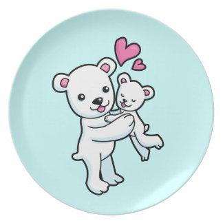 Polar Bear hugging Baby bear Plate