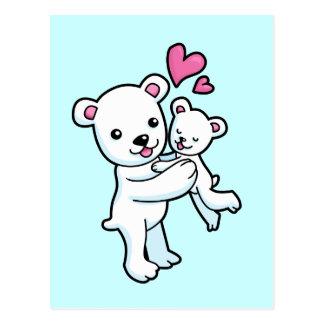 Polar Bear hugging Baby bear Post Card