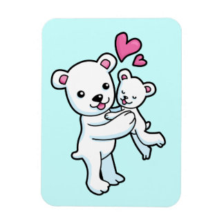 Polar Bear hugging Baby bear Flexible Magnet