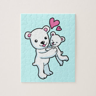 Polar Bear hugging Baby bear Puzzle