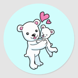 Polar Bear hugging Baby bear Stickers