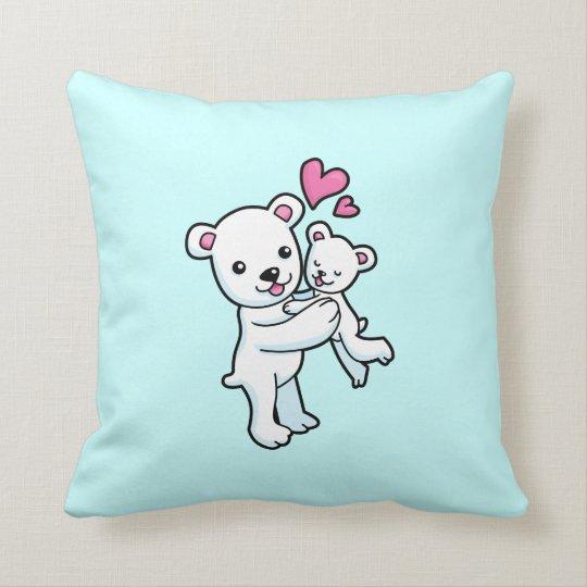 Polar Bear hugging Baby bear Throw Pillow