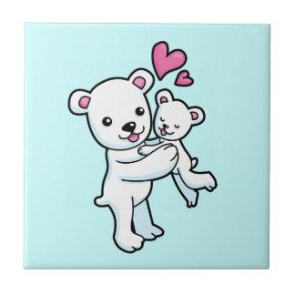 Polar Bear hugging Baby bear Tiles