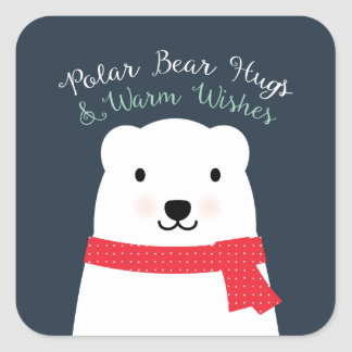 Polar Bear Hugs and Warm Wishes Square Sticker