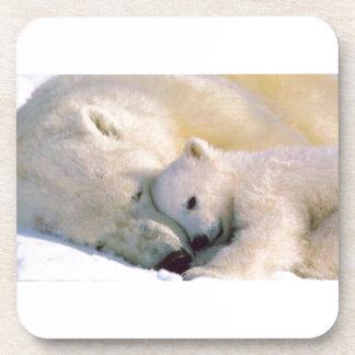 Polar Bear Hugs Drink Coaster
