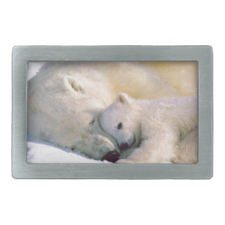 Polar Bear Hugs Rectangular Belt Buckle