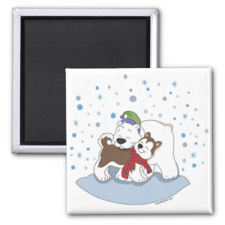 Polar Bear & Husky Friends Magnet