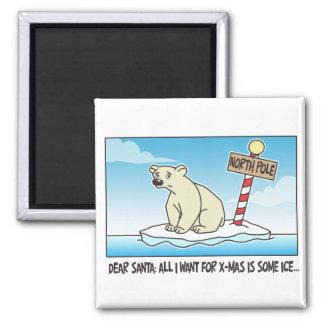 Polar Bear Ice Christmas Magnet