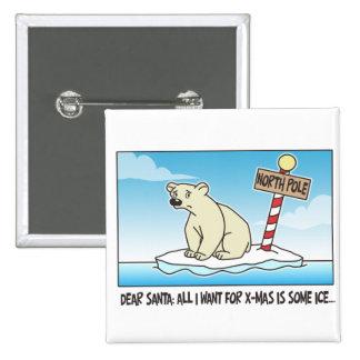 Polar Bear Ice Christmas Pinback Button
