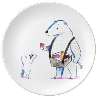 Polar Bear Ice Cream Plate Porcelain Plate