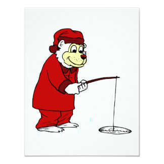 Polar Bear Ice Fishing in Pajamas Card