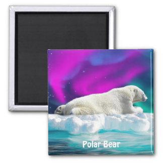 Polar Bear, Ice Floe & Aurora Wildlife Art Magnet