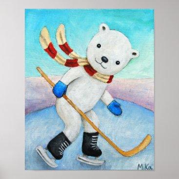 Art Themed Polar Bear Ice Hockey Poster Boy Nursery Wall Art
