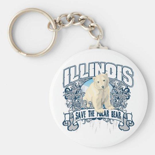 Polar Bear Illinois Keychain