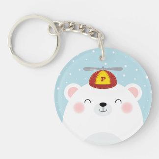 Polar Bear in a Propeller Hat Illustration Keychain