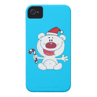 Polar Bear in a Sant Hat Holding a Candy Cane Case-Mate iPhone 4 Case