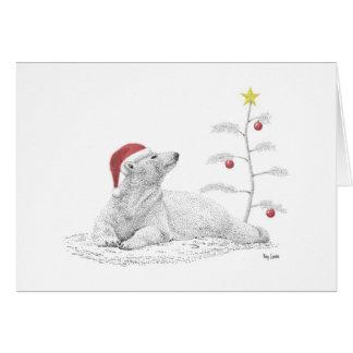 Polar Bear in a Santa Hat Card