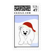 Polar Bear In A Santa Hat Postage