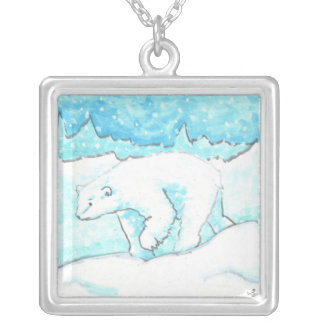 Polar Bear in a Snow Storm subtle humor necklace