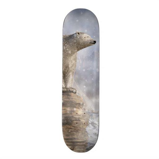 Polar Bear in a Snowstorm Skateboard Decks
