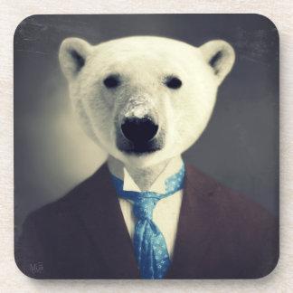 """""""Polar Bear In A Suit"""" Original Art Coasters"""