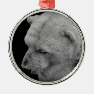 Polar Bear in Black and White Round Metal Christmas Ornament