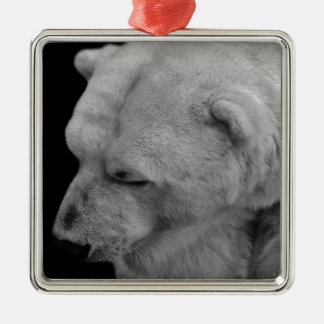 Polar Bear in Black and White Square Metal Christmas Ornament