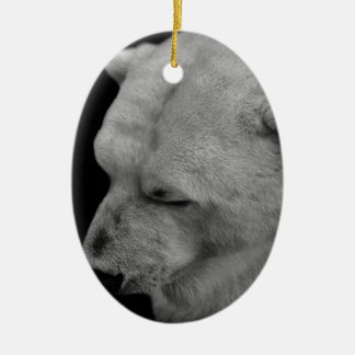 Polar Bear in Black and White Double-Sided Oval Ceramic Christmas Ornament