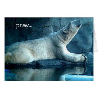 Polar Bear In Prayer Birthday Card