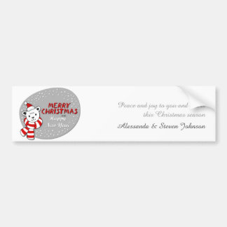 Polar bear in Santa Claus hat with wishes Bumper Sticker