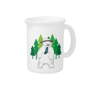 polar bear in the forest beverage pitchers