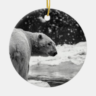 Polar Bear in the snow Ceramic Ornament